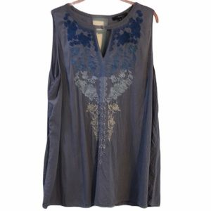 Andree by Unit Top Boho Sleeveless Embroidered 2X